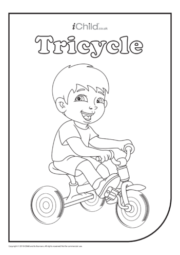 Thumbnail image for the Tricycle (& Rider) Colouring in Picture activity.