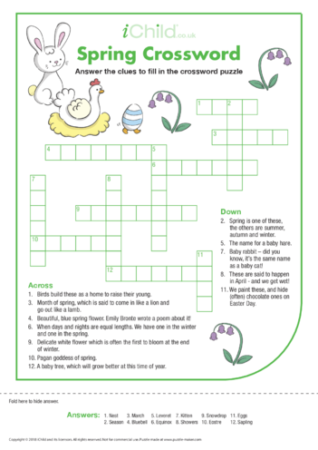 Thumbnail image for the Spring Crossword activity.