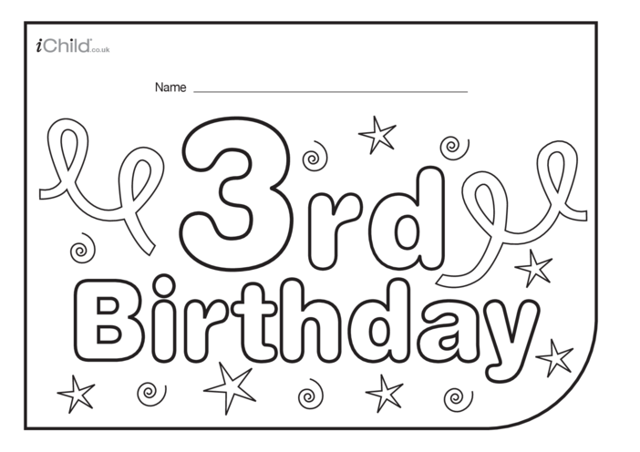 Thumbnail image for the Birthday Party Place Mats for 3 year old 3rd birthday activity.