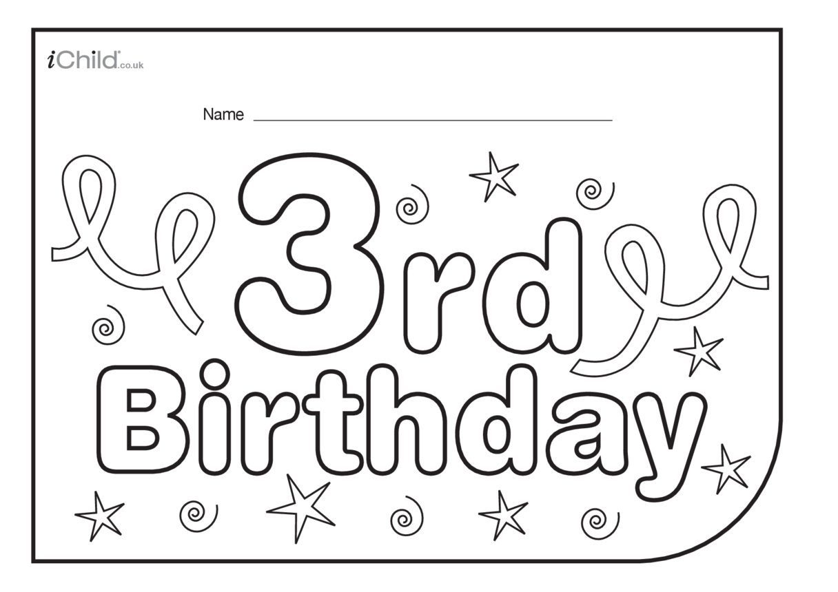 Birthday Party Place Mats for 3 year old 3rd birthday