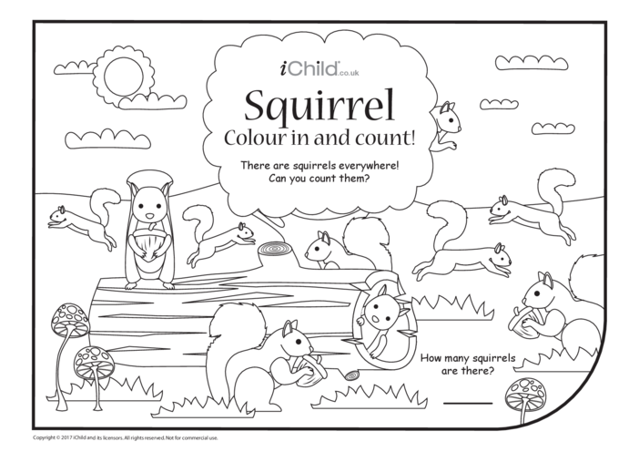 Thumbnail image for the Squirrel Colour in & Count activity.
