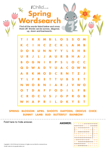 Thumbnail image for the Spring Wordsearch activity.