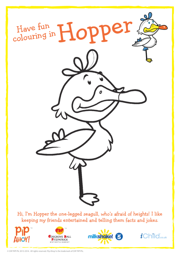 Hopper Colouring In Picture (Pip Ahoy!)