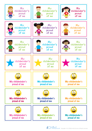 Thumbnail image for the My Childminder is Proud of Me Large Sticker Sheet activity.