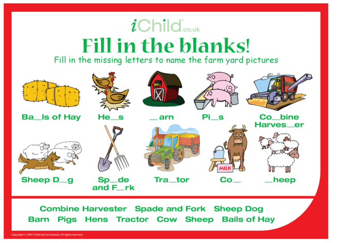 Thumbnail image for the Fill in the Blanks - Farmyard activity.