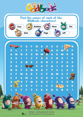 Thumbnail image for the Wordsearch Oddbods - Character Names activity.
