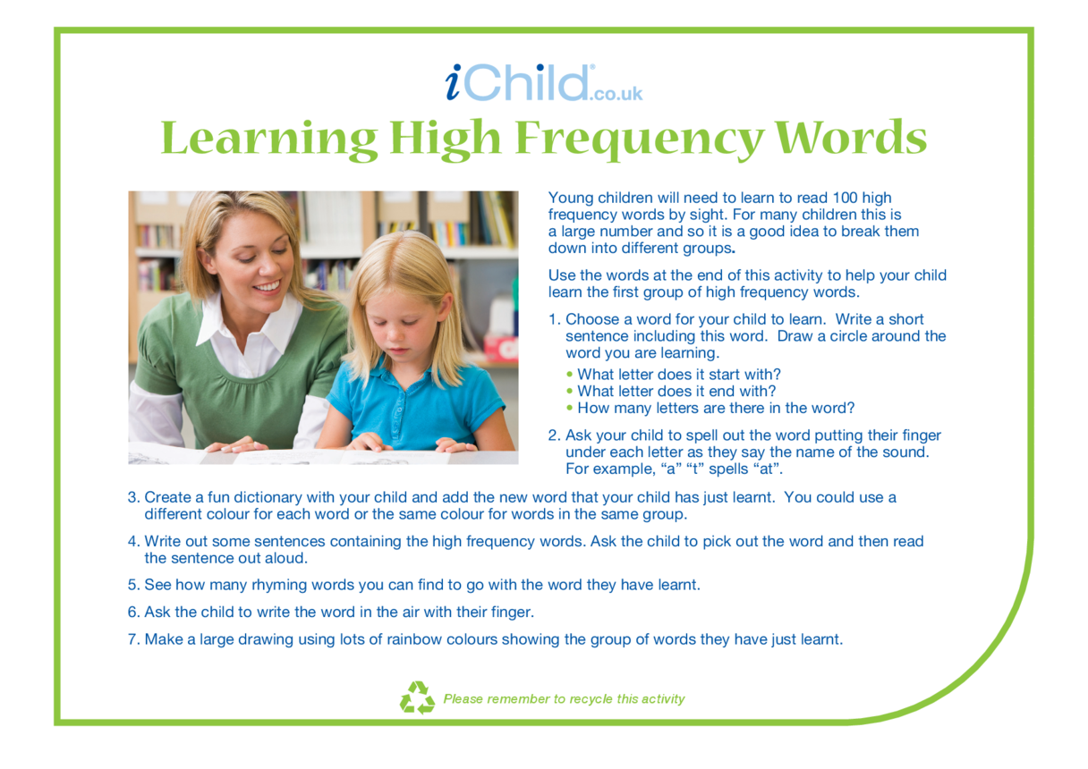 Learning High Frequency Words (word sheet attached)