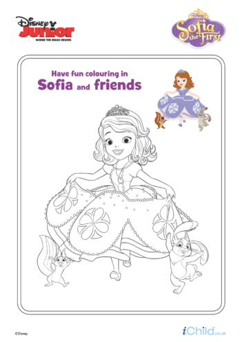 Thumbnail image for the Sofia the First: Sofia & Friends Colouring- Disney Junior activity.