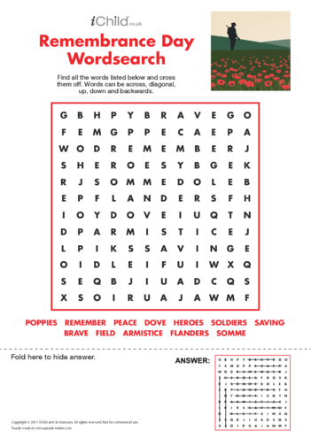 Thumbnail image for the Remembrance Day Wordsearch activity.