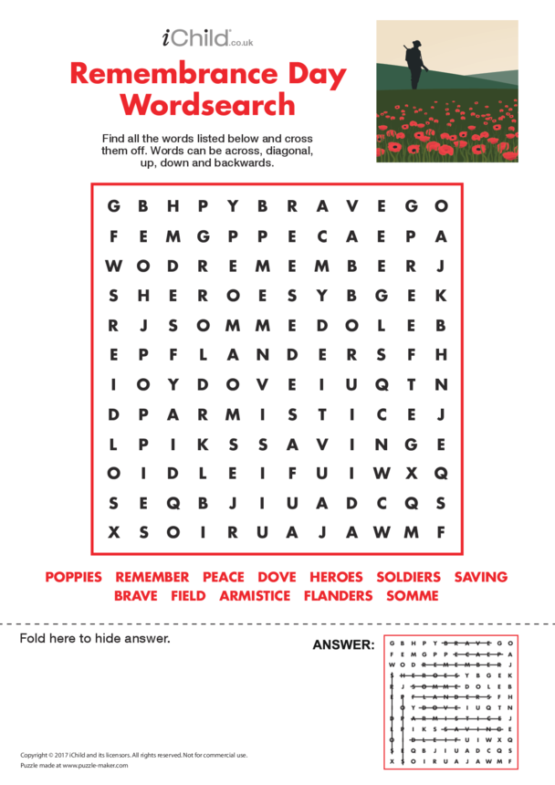 Remembrance Day Wordsearch