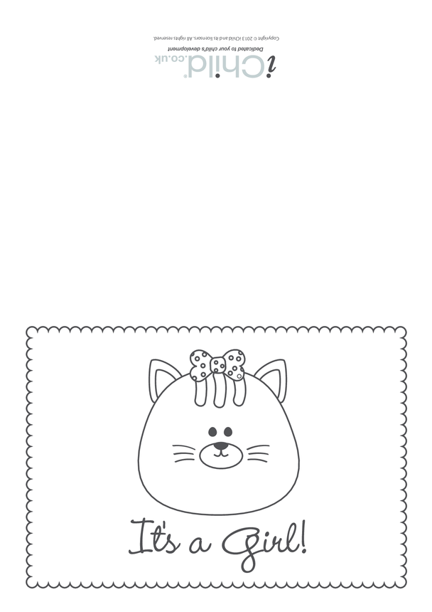 It's a Girl Card (black & white) - Cat