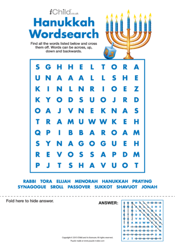 Thumbnail image for the Hanukkah Wordsearch activity.