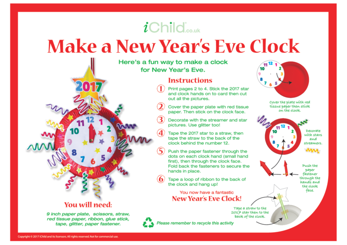 Thumbnail image for the Make a New Year's Eve Clock activity.