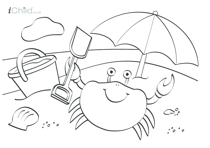 Thumbnail image for the Seaside Beach Colouring in picture activity.