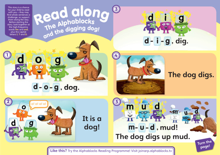 Thumbnail image for the The Alphablocks & the Digging Dog Read Along Story activity.