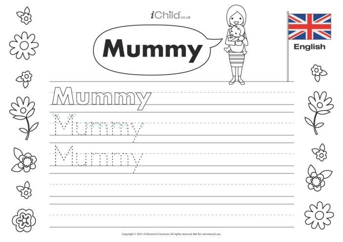 Thumbnail image for the 'Mummy' Handwriting Practice Sheet activity.