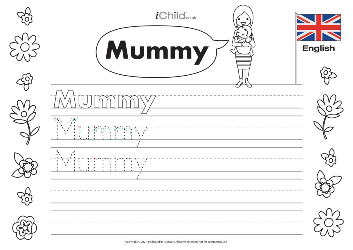 'Mummy' Handwriting Practice Sheet