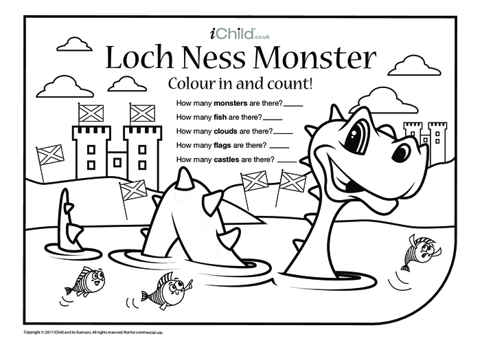 Thumbnail image for the Loch Ness Monster Colour in & Count activity.