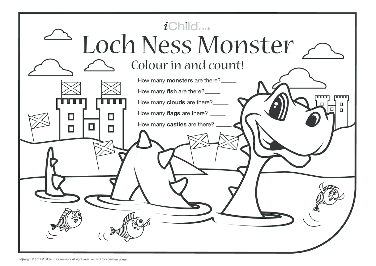 Loch Ness Monster Colour in & Count