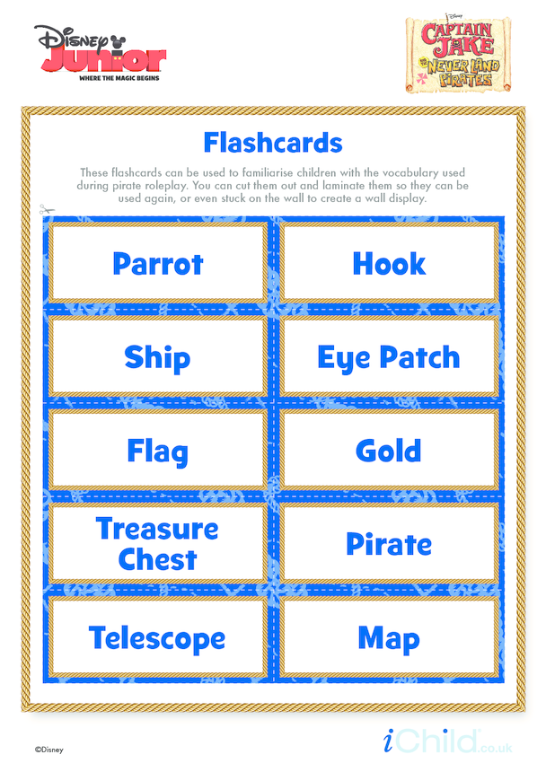 Captain Jake and the Never Land Pirates Flashcards- Disney Junior
