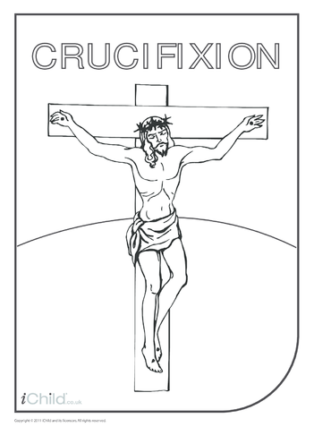 Thumbnail image for the Crucifixion of Jesus (with words) Colouring in picture activity.