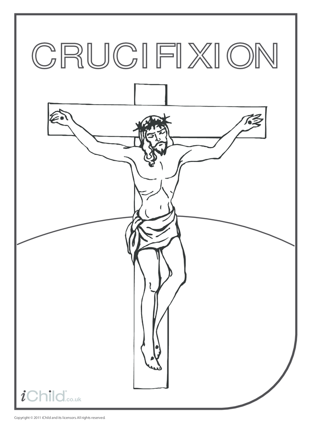 Crucifixion of Jesus (with words) Colouring in picture
