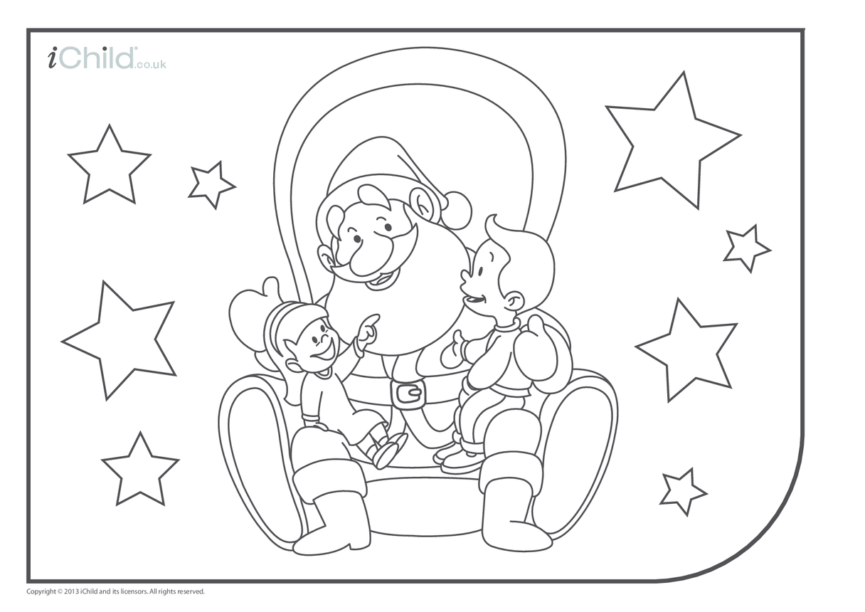 Father Christmas Colouring in Picture