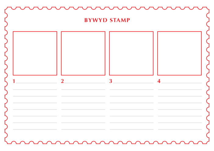 Thumbnail image for the 2013_Welsh Language Primary 1) The Life of a Stamp (Drawing & Writing Template) activity.