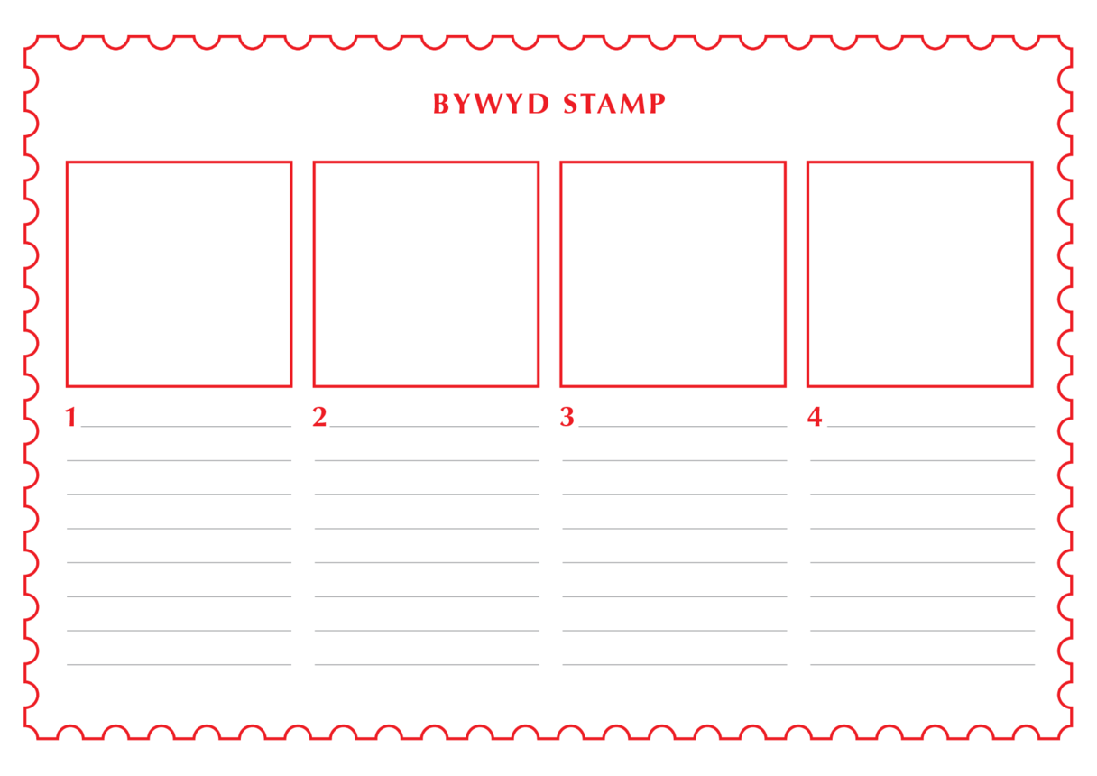 2013_Welsh Language Primary 1) The Life of a Stamp (Drawing & Writing Template)