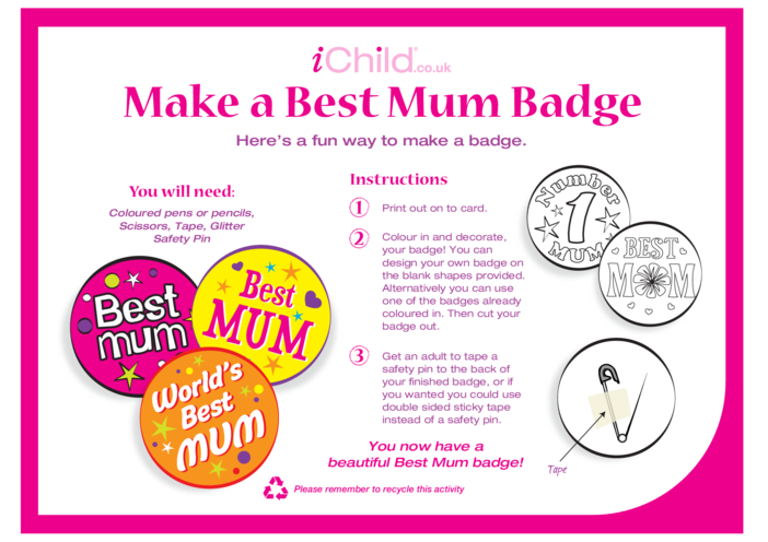 Thumbnail image for the Make a Best Mum Badge activity.
