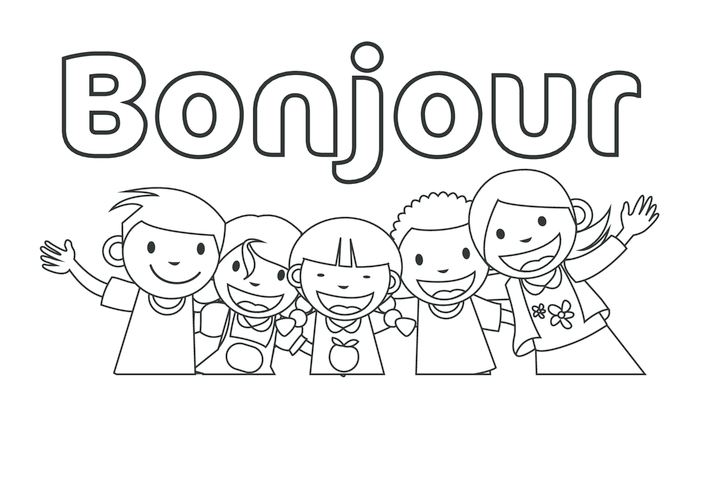 Thumbnail image for the Hello in French (black & white) - Signs & Posters activity.