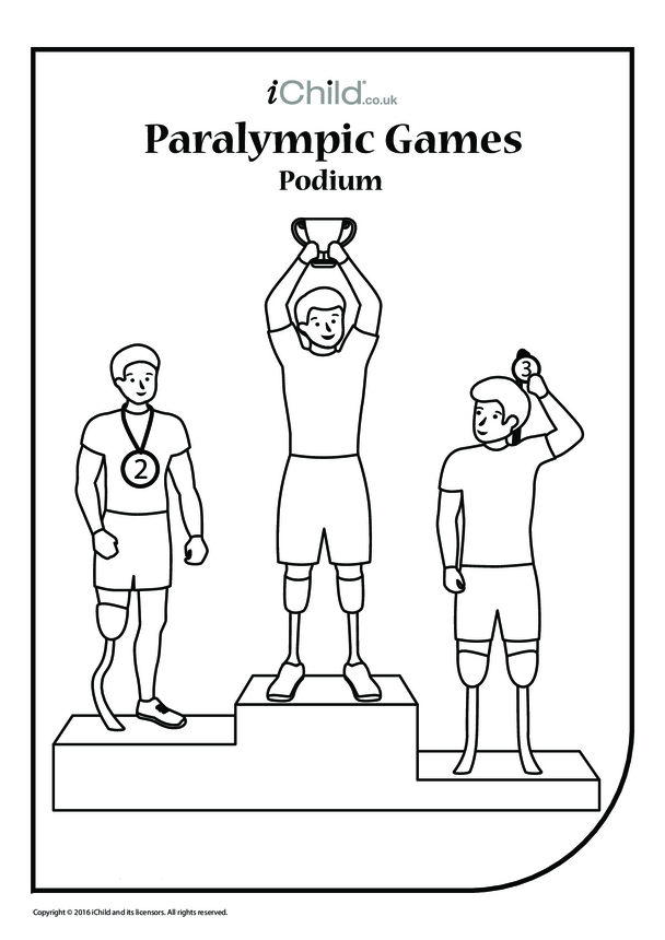 Paralympic Podium Colouring in Picture