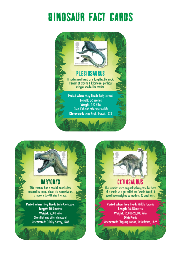 Primary 1) The Real Giants- Dinosaur Fact Cards
