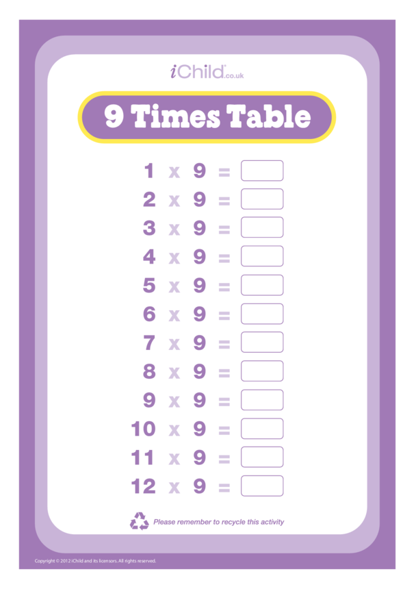 (09) Nine Times Table Question Sheet