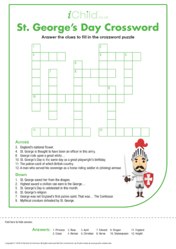 Thumbnail image for the St. George's Day Crossword activity.