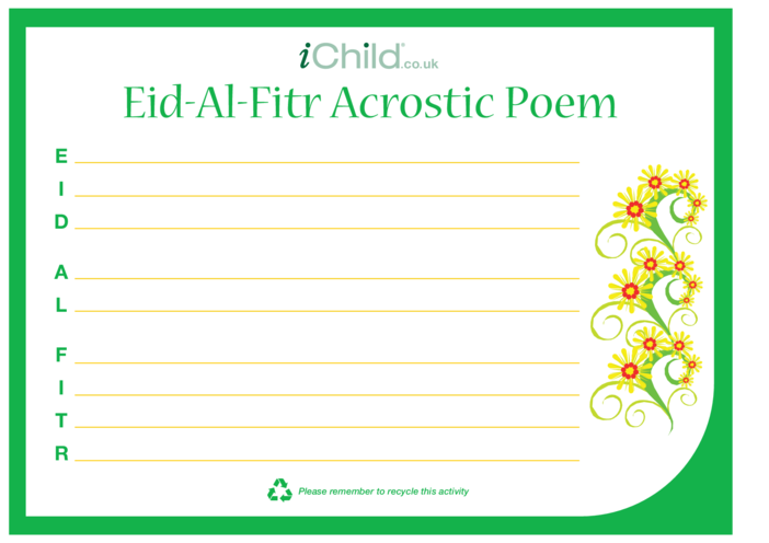Thumbnail image for the Eid al-Fitr Acrostic Poem activity.