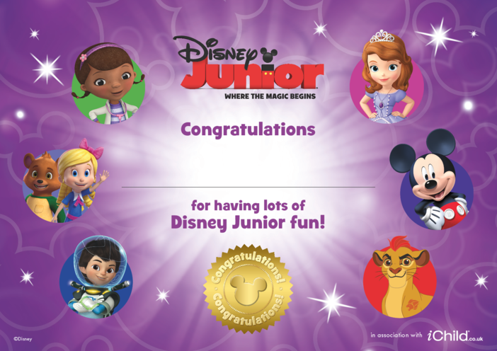 Thumbnail image for the 1. Disney Junior Certificate activity.