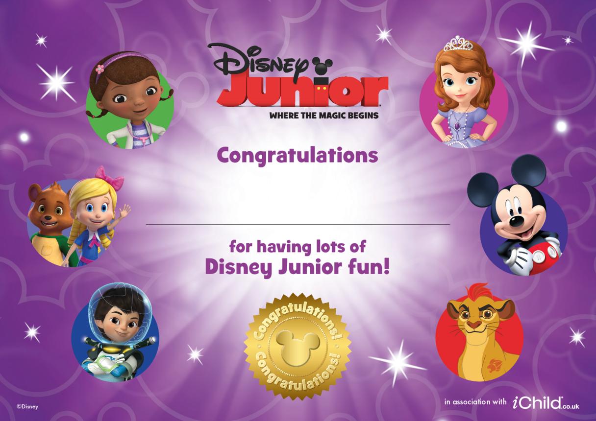 1. Disney Junior Certificate