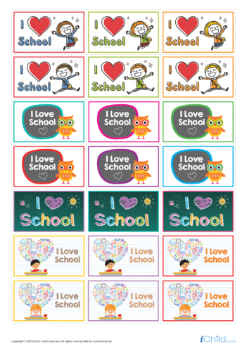 Thumbnail image for the I Love School: Large Sticker Sheet activity.