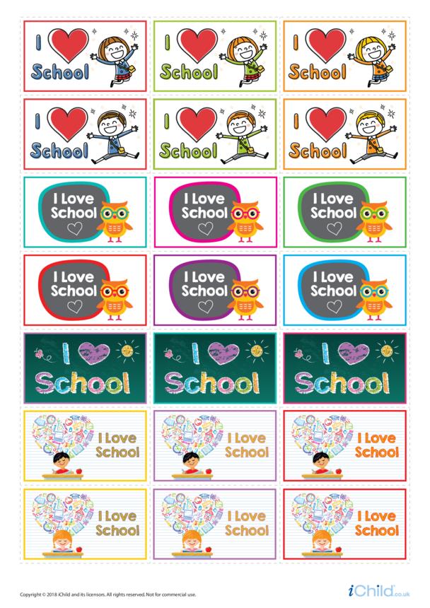 I Love School: Large Sticker Sheet