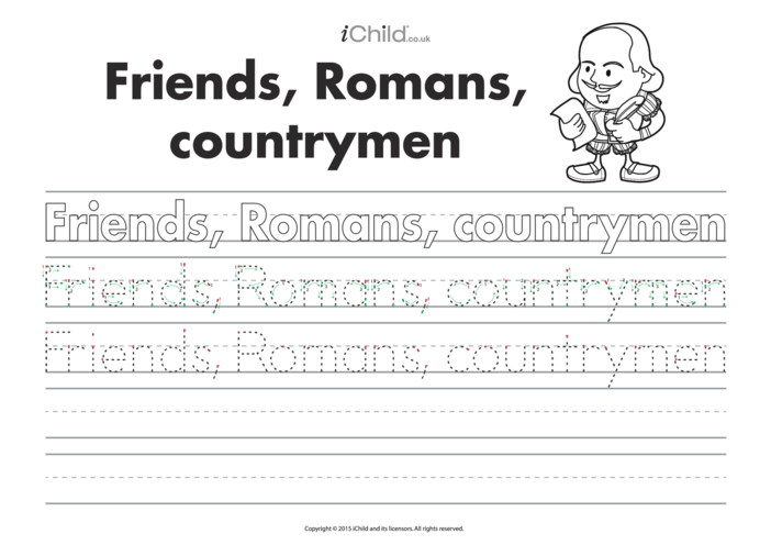 Thumbnail image for the Friends, Romans, Countrymen: Handwriting Practice activity.