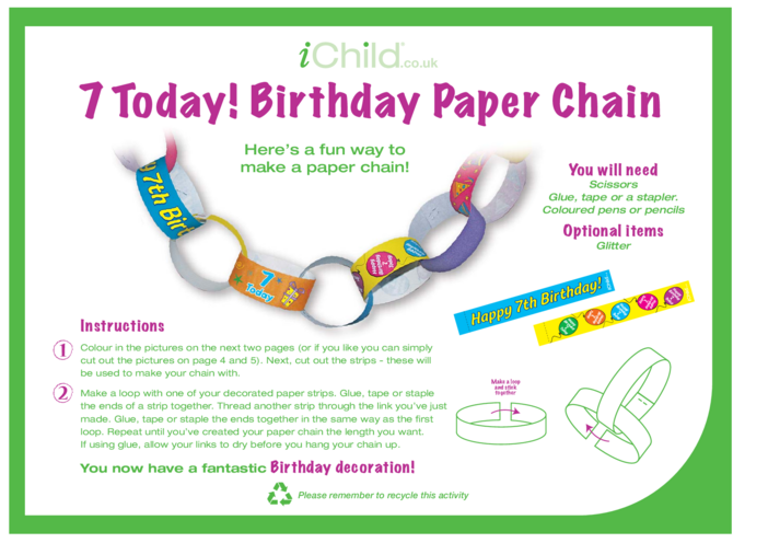 Thumbnail image for the Birthday Party Decoration Paper Chain for 7 year old 7th birthday activity.