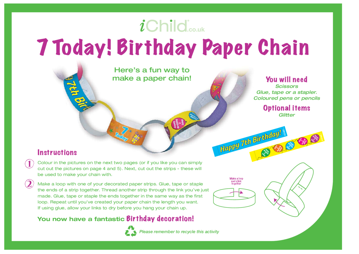 Birthday Party Decoration Paper Chain for 7 year old 7th birthday