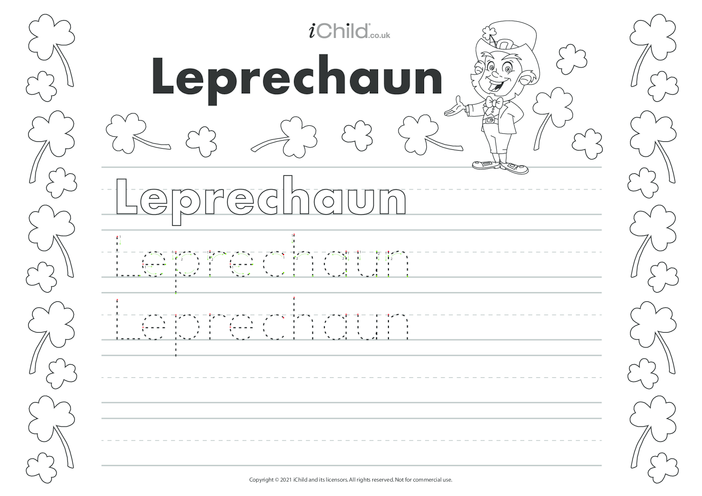 Thumbnail image for the Leprechaun Handwriting Practice Sheet activity.
