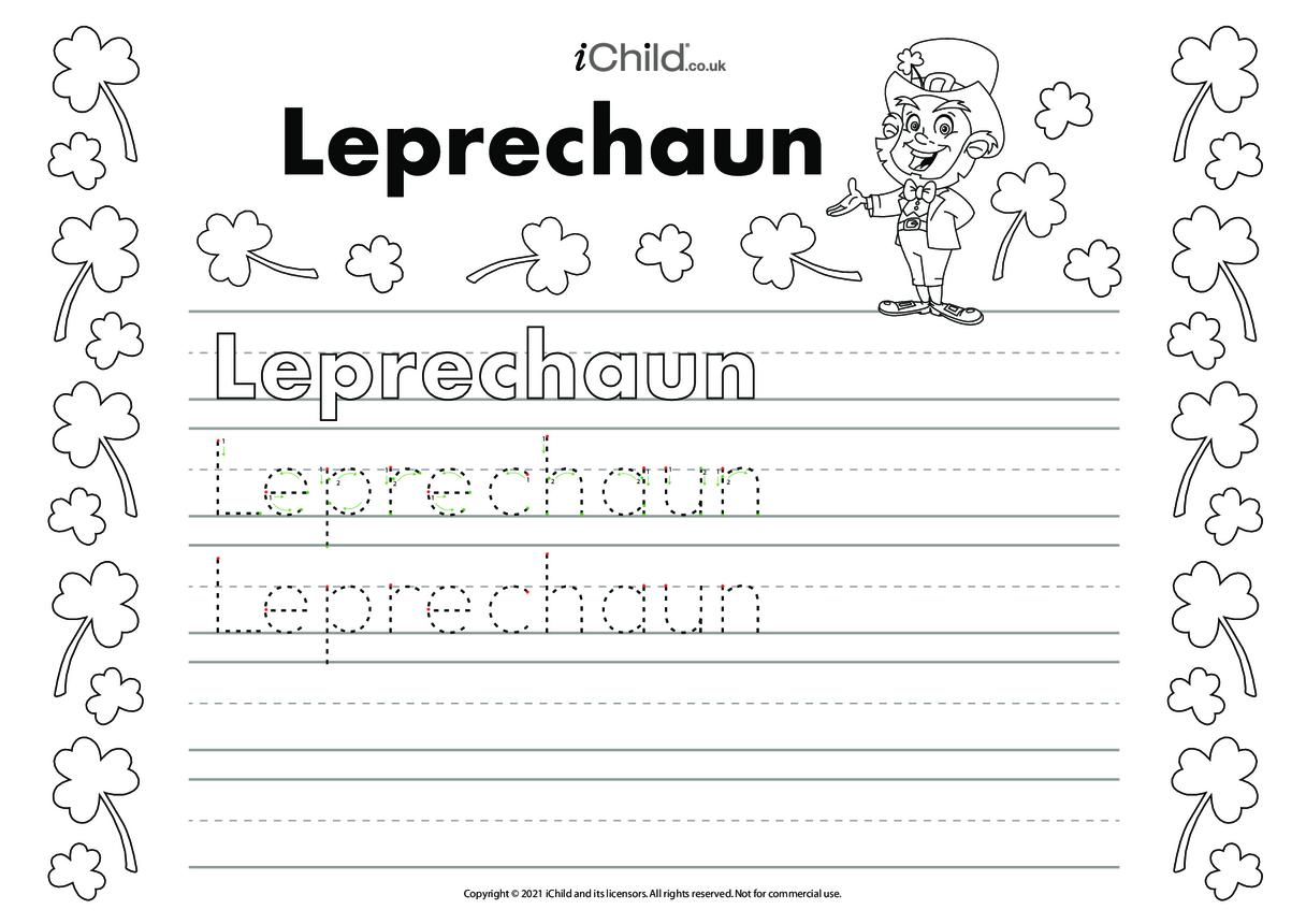 Leprechaun Handwriting Practice Sheet