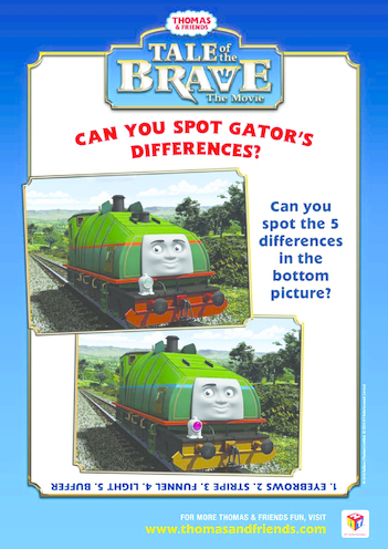 Thumbnail image for the Tale of the Brave Spot the Difference (Thomas & Friends) activity.