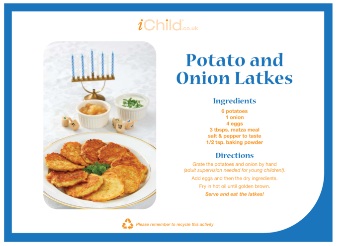 Thumbnail image for the Potato & Onion Latke Recipe activity.