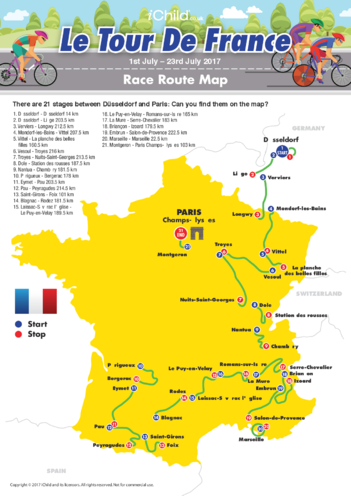 Thumbnail image for the Tour de France Map 2017 activity.
