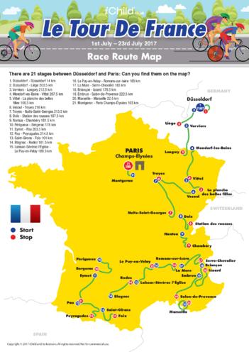 Thumbnail image for the Tour de France Map 2017 activity.