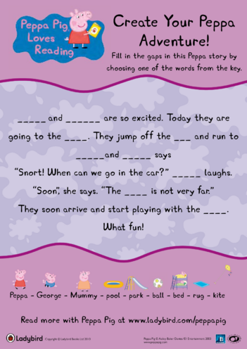 Thumbnail image for the Peppa's Adventure Story activity.